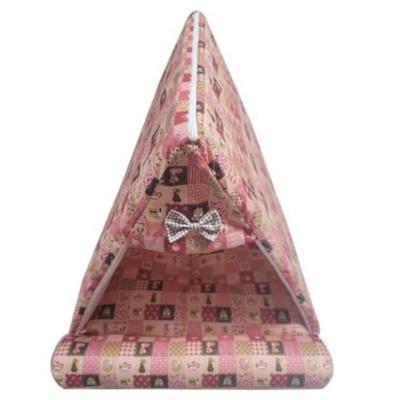 강아지집 퍼피하우스 삼각하우스 플래드 핑크