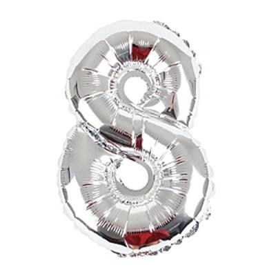 알파벳 숫자 은박풍선 (소) 실버 8