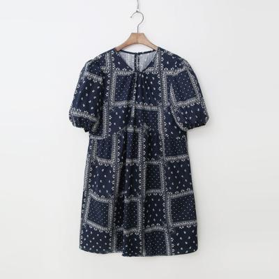 Paisley Puff Dress