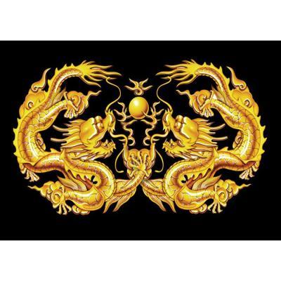 황금 쌍룡도 (패브릭) 5D 4K 보석십자수 40x60