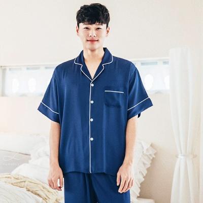 [쿠비카]화이트 라인 쉐도우 반팔 남성잠옷 BNBR-M057