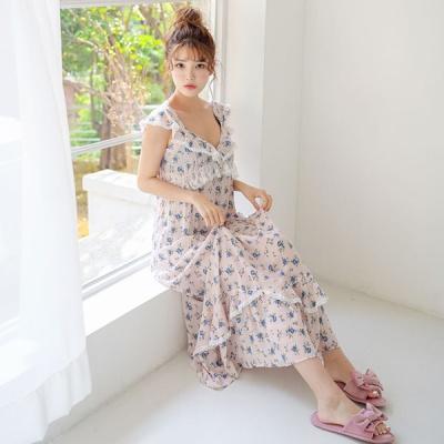 [쿠비카]3중밴딩 슬림 민소매 롱 원피스 잠옷 W570