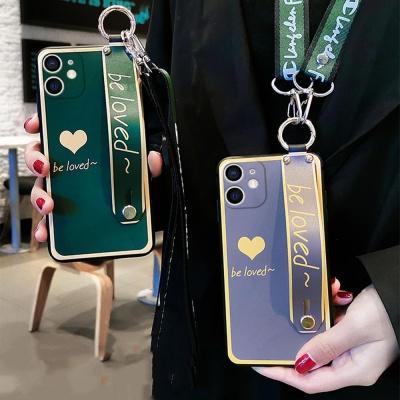 아이폰12 PRO MAX MINI/하트 스트랩 목걸이줄 케이스