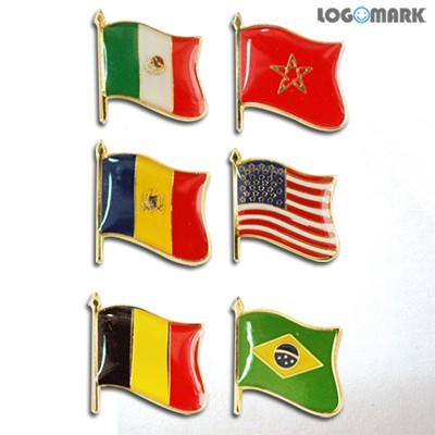 휘날리는 국기뱃지(멕시코, 모르코, 미국, 벨기에, 몰다비아, 브라질)