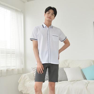 [빅사이즈] 배색라인 화이트 남자 반팔 셔츠 ~4XL