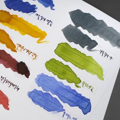 잉크 컬러차트 스티커 4종 전체 세트