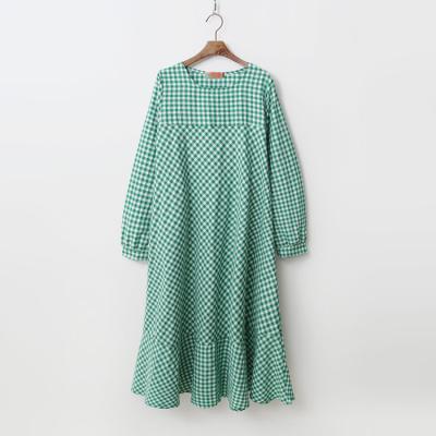 Check Puff Long Dress