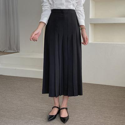 Front Pleated Long Skirt