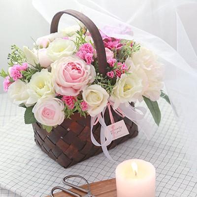 피오니 카네이션 꽃바구니