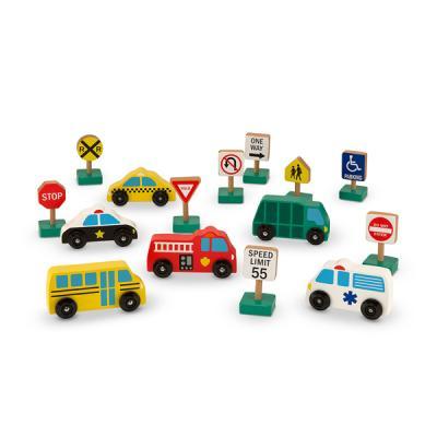 탈 것과 교통 놀이 표지판 세트