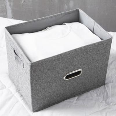 린넨폴리패브릭 덮개형 옷 수납 박스 정리함 (중형)