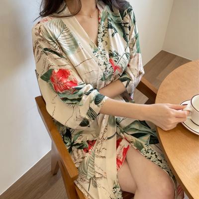 인견 레이온 트로피칼 여름 슬립 가운 세트 잠옷