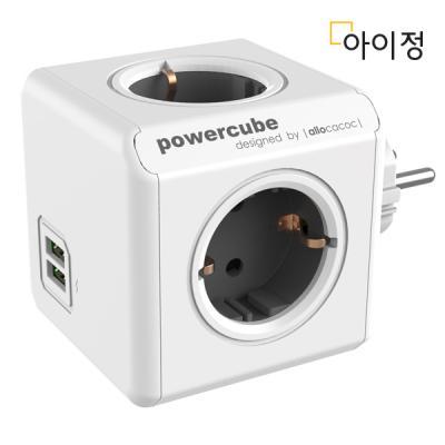 파워큐브 오리지널 USB 그레이 멀티탭 콘센트