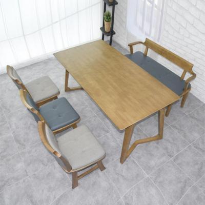 N4117 6인 원목 식탁 세트(벤치형) 2colors