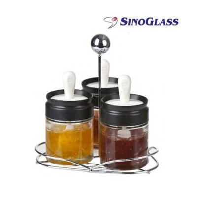 시노글라스 양념병 꿀 스푼 실리콘브러쉬 SET 양념통