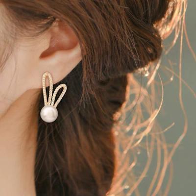 햅번 펄진주 큐빅 귀걸이