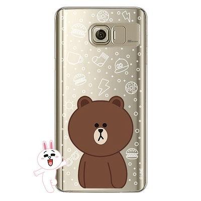 [SG DESIGN] Galaxy Note5 라인프렌즈 브라운 LIGHT UP Case - GOLD(하드타입/라이팅)