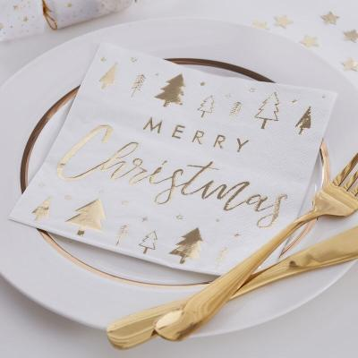 [빛나파티]골드 메리크리스마스 트리 장식용 냅킨