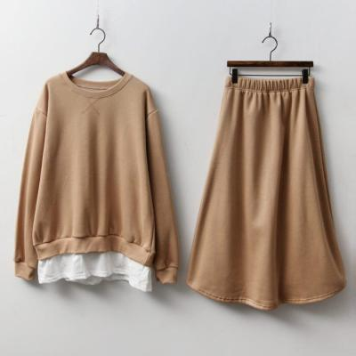 [Set] Gimo Sweatshirt + Long Skirt - 기모안감