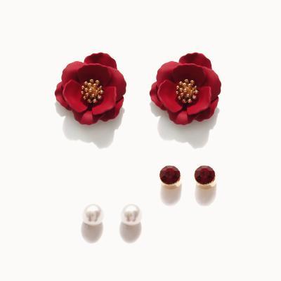 제이로렌 1M02928 장미꽃 진주 귀걸이세트