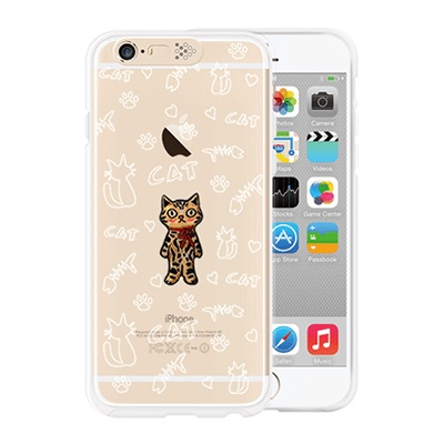 [SG DESIGN] iPhone6/6S SG Lighting Clear Hand-made Case - Clear Standing Cat
