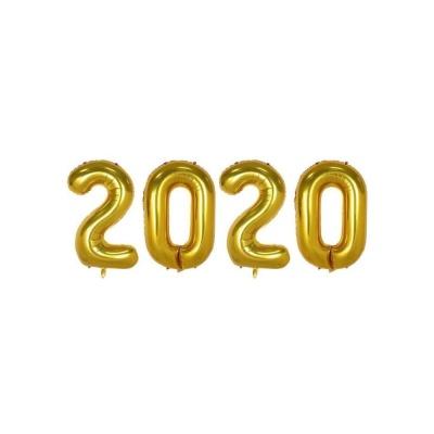 숫자 2020 은박풍선(소) 골드 생일파티용품 생일풍선