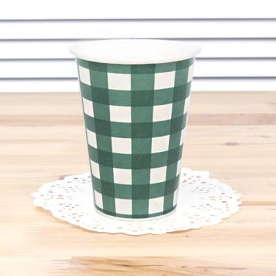 체크 종이컵-그린(6개입)