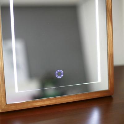 모니에 LED 원목 사각 화장대거울 대