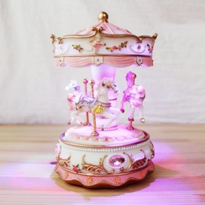 유럽감성 오르골 - LED무드등 회전목마(핑크)