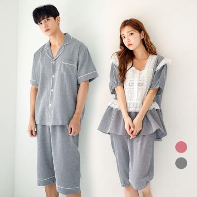 [쿠비카]볼륨 퍼프 소매 체크 투피스 커플잠옷 WM303