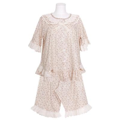 [쿠비카]플라워 이중프릴 카라 투피스 여성잠옷 W770