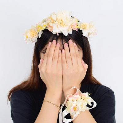 브라이덜 화관 꽃팔찌 세트