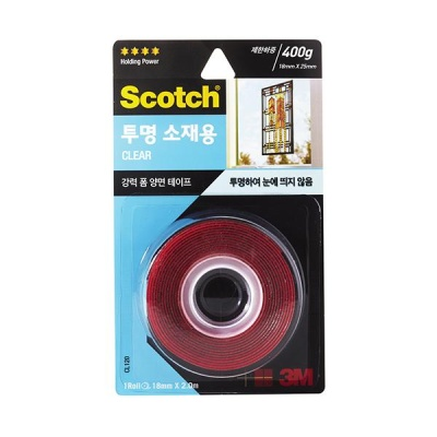 3M 스카치 강력 투명 소재용 폼 양면테이프 CL120