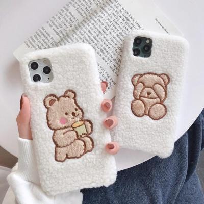 아이폰11PRO MAX XR SE2 8 기모 자수 곰 뽀글이케이스