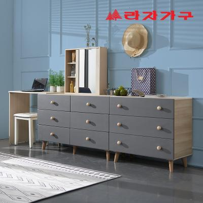 무디 소프트 확장형 서랍 화장대 세트 거울 포함