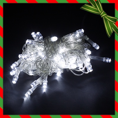 50구 투명선 LED 백색전구(5M) (점멸有) (90cm트리용)