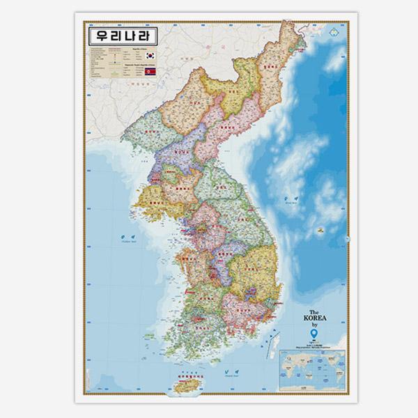 [무료배송]양면코팅 우리나라 지도
