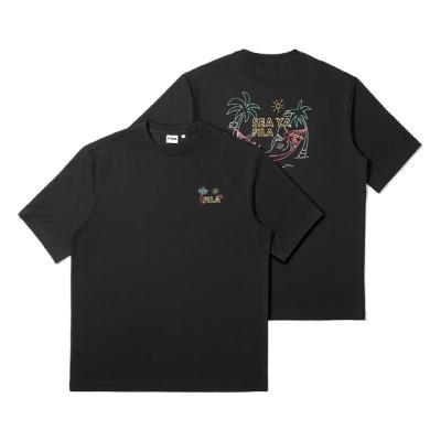 휠라 루즈핏 해먹상어 반팔 티셔츠 블랙