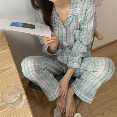 레이튼 여성잠옷 체크 긴팔 홈웨어 파자마세트