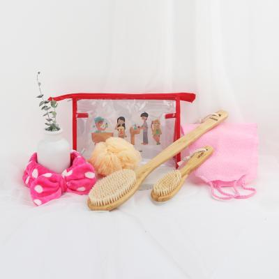 웨신 뱀부 브러쉬 여행 파우치 세트(핑크)