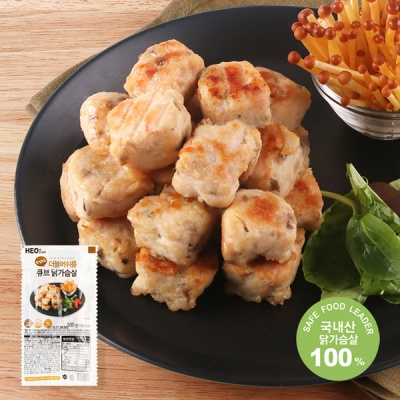 [허닭] 닭가슴살 큐브 더블머쉬룸 100g
