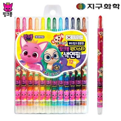 재밌는 미술 색칠 놀이 핑크퐁 샤프식 색연필 12색
