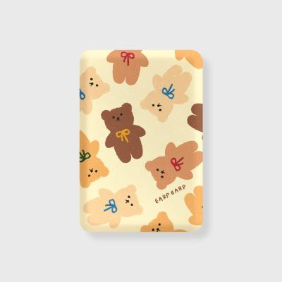 Dot ribbon bear-ivory(무선충전보조배터리)