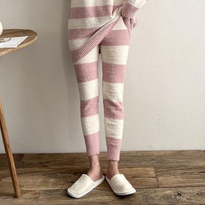 Very Soft Home Stripe Knit Leggings - 극세사