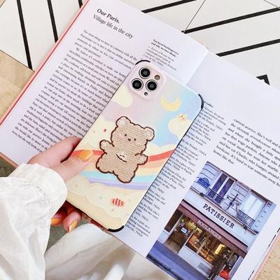 아이폰se2 8 7+ 곰돌이 캐릭터 자수 범퍼 젤리 케이스