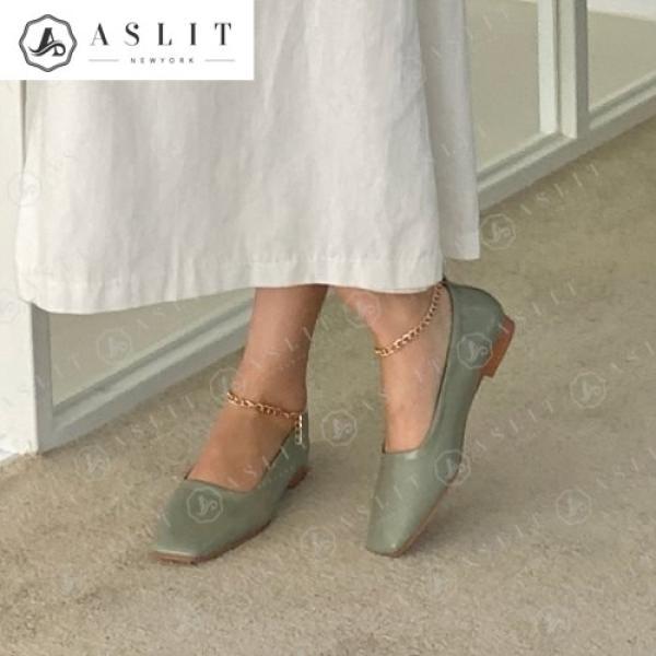 [애슬릿]스퀘어 여성 체인 발목 스트랩 플랫 슈즈