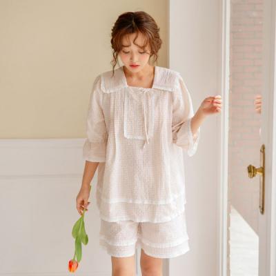 [쿠비카]체크 사각넥 순면 투피스 팬츠 여성잠옷 W455