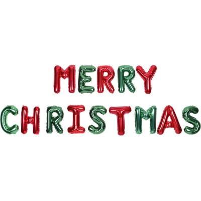 [빛나파티]레드 그린 Merry Christmas 은박풍선세트
