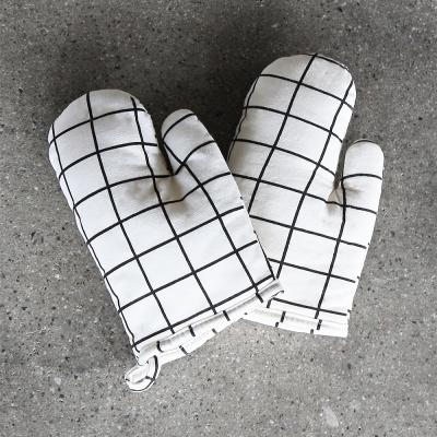 스트라이프 주방장갑 2개세트 (화이트)