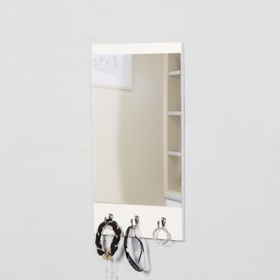 우드 카라 모던 사각 훅고리 벽거울-화이트